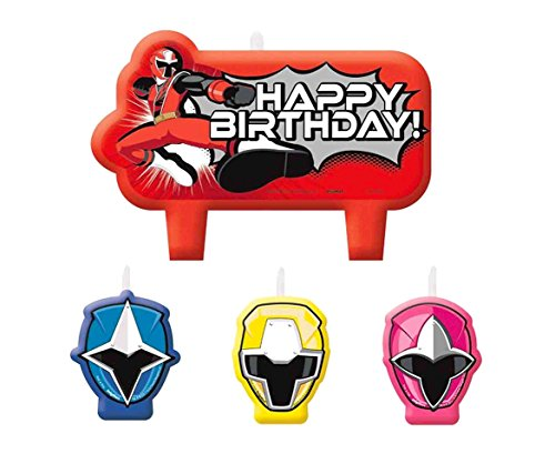 Amscan Power Rangers Ninja Steel Candle Set (Power Rangers Cake Decorations)