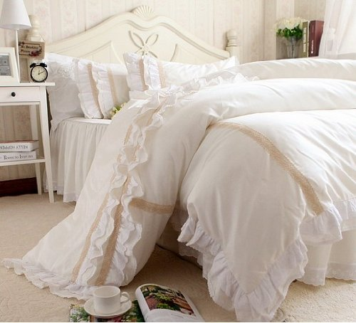 Fadfay Home Textile Luxury Off White Lace Ruffle Bedding