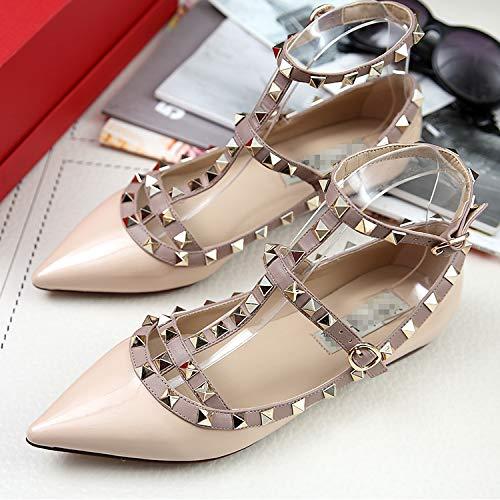 AIMENGA Zapatos Planos Zapatos De Mujer Superficiales Zapatos Sueltos Remaches Puntiagudos Zapatos De Vendaje Apricot color