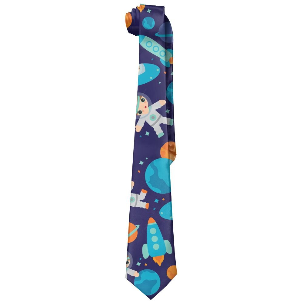 Mens Space Astronaut Rocket Launch Classic Casual Tie Necktie