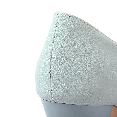 Donne Weipoot Pompe Delle Della Rotondo Su Blu Tirare Talloni Alti Chiusa scarpe Solida Punta q0RqwT