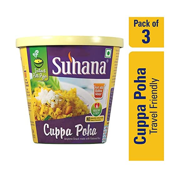 Suhana Cuppa Poha Ready to Eat Instant Breakfast Meal - Pack of 3
