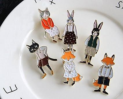 6 Pines esmaltados broche clip animalitos hipster para ...