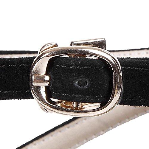 Euroaméricains Le cuir des femmes en peau de mouton Frosted étanche Boucle de ceinture Pump Dress Sandals , black , 38