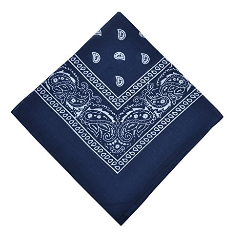 6 Pack Bandanas Set Cotton Cowboy Bandana,Navy Blue ()