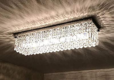 7PM Modern Rain Drop Rectangle Clear K9 Crystal Chandelier Ceiling Lamp Lighting Fixture 10 Lights for Dining Living Bedroom Room Chrome Frame