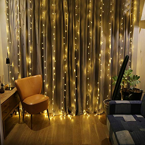 (ZSTBT DM-300LW/1 300LED 9.84ft9.84ft/3m3m Window Curtain Lights for Party Wedding Home Patio Lawn Garden (Warm White))