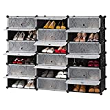 diy closet ideas LANGRIA 18-Cube DIY Shoe Rack, Storage Drawer Unit Multi Use Modular Organizer Plastic Cabinet with Doors, Black and White Curly Pattern
