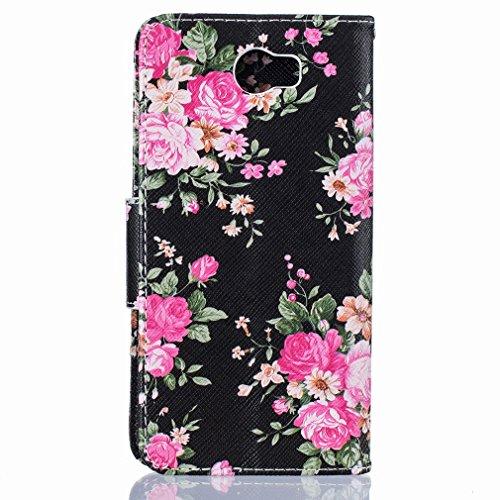Yiizy Huawei Y5 II Huawei Y5 2 Huawei Honor 5 Funda, Bright Rose Diseño Solapa Flip Billetera Carcasa Tapa Estuches Premium PU Cuero Cover Cáscara Bumper Protector Slim Piel Shell Case Stand Ranura pa