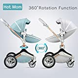 Baby Stroller 360 Rotation Function,Hot Mom Travel System Pram (Grey),Baby Food Feeder Gift