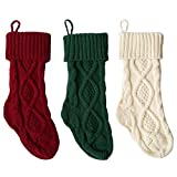 Smileyyi Knitted Christmas Stockings Classic Solid Color Christmas Knit Stockings Decoration Bag Fireplace Decoration