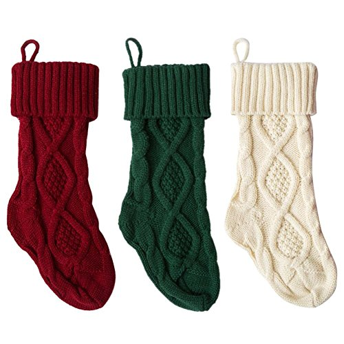 Smileyyi Knitted Christmas Stockings Classic Solid Color Christmas Knit Stockings Decoration Bag Fireplace Decoration by Smileyyi