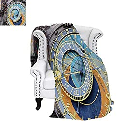 warmfamily Clock Oversized Travel Throw Cover Blanket Prague Astronomical Clock in The Old Town an European Medieval Landmark of City Super Soft Lightweight Blanket 60x36 Blue and Yellow