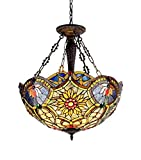 Chloe Lighting CH33270VB21-UH3 Tiffany-Style Victorian 3 Light Inverted Ceiling Pendant 21-Inch Shade - Multi-Colored