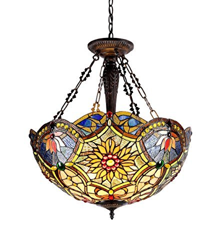 (Chloe Lighting CH33270VB21-UH3 Tiffany-Style Victorian 3 Light Inverted Ceiling Pendant 21-Inch Shade, Multi-Colored)