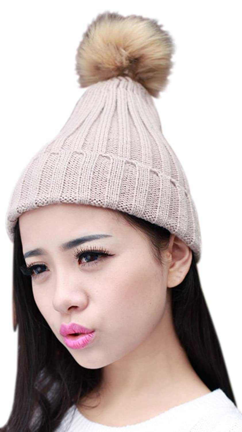 Thenice Women's Winter Knitting Thick Hairball Cap Berets Knit Hat