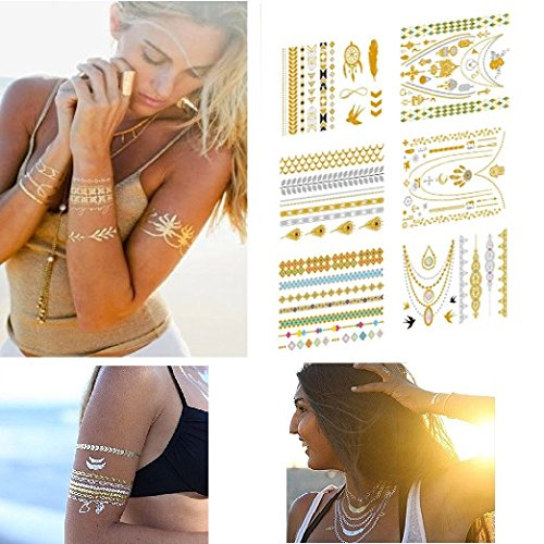 Feskin 6 Sheets Temporary Art Tattoo Sticker, Fashion Removable Waterproof Bright Golden Metallic Body Sticker for Women and Girls (Shimmer Tattoo)