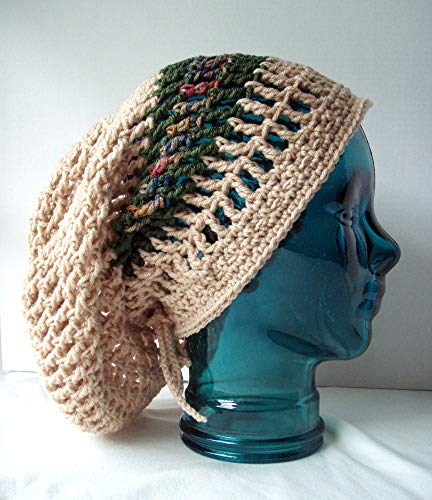 Light Tan Net Dread Tam Earthy Green Stripe Long Slouch Hat Crochet Adjustable Drawstring Locs -