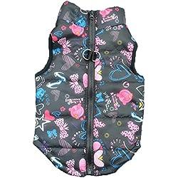 Mikey Store Pet Cartoon Cute Cloth Dog Cloth Dog Winter Cloth Pet Vest (Black, S)