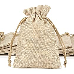 ANPHSIN 75 Pieces Mini Burlap Bags with Drawstring, 5.43x3.74 inch Burlap Gift Bag Jewelry Pouches for Wedding Favors, Party, DIY Craft and Christmas
