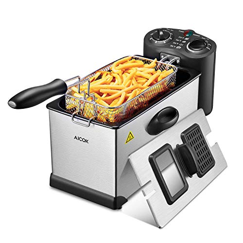 Aicok Deep Fryer, With Basket, 1700-Watt Stainless-Steel Oil Deep Fryer Machine with Adjustable Temperature & Timer, Fully Removable, Professional Grade (Renewed)