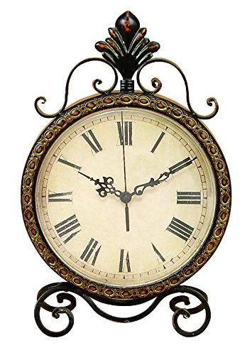 Deco 79 Metal Clock, 17 by 11-Inch (Glass Table Iron Wrought Chairs And)