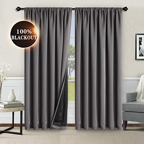 WONTEX 100% Grey Blackout Curtains for Bedroom 42 x 84