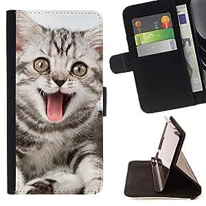 Momo Phone Case / Flip Funda de Cuero Case Cover - Tongue Cat bostezo Rosa Gris Rayas; - HTC One Mini 2 M8 MINI
