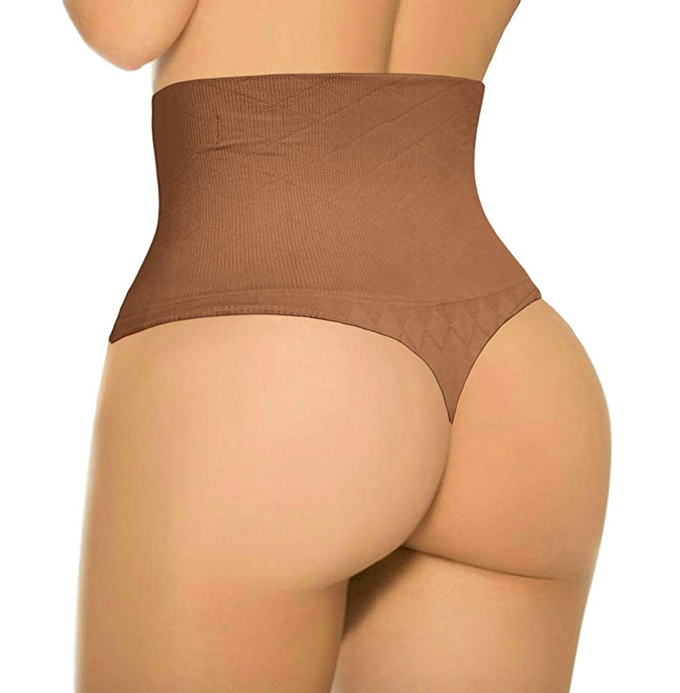 Womens Basic Every-Day High-Waist Shapewear Trainer Tummy Control Thong Panty Underwear ShaperQueen 103 Thong