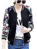 FV RELAY Women's Slim Fit Floral Print Baseball Bomber Jacket Casual Coat Outwear (L, Black)