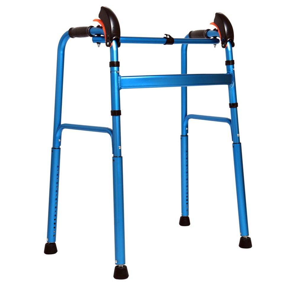 トイレシート 多機能高齢者ウォーキングエイド、アルミニウム合金折りたたみ調節可能な青赤 (色 : 青) B07DN3RB83 青 青