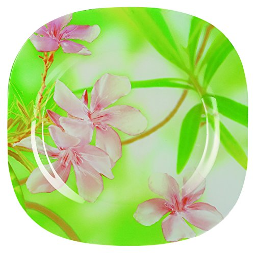 Dajar Freesia Dinner Plate Luminarc Glass Pink/Green (25x 25x 2cm
