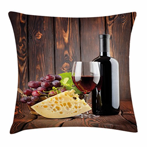 Ambesonne Wine Throw Pillow Cushion Cover, Red Wine Cabernet Bottle and Glass Cheese and Grapes on Wood Planks Print, Decorative Square Accent Pillow Case, 24