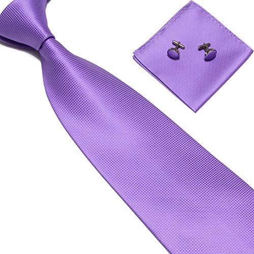 LUHEN Men's Purple Tie Necktie Polyester Handkerchief Pocket Towel Cufflinks Set