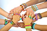 Loomy Bands 10000-Piece Rainbow Colored Loom Bands with 500 Colored Clips, 50 Beads, 15 Charms, 4 Hooks and Plastic Loom Band Storage Container