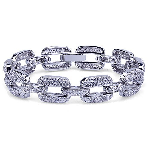 TOPGRILLZ 15mm Hip Hop Iced Out CZ Cluster Mariner Link Bracelet (Silver) by TOPGRILLZ