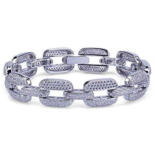 TOPGRILLZ 15mm Hip Hop Iced Out CZ Cluster Mariner Link Bracelet (Silver)