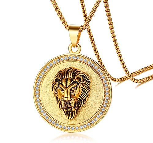 "Gold Plated Stainless Steel Circle of Rhinetstone Crystal Lion Head Round Pendant for Men,24""Chain"