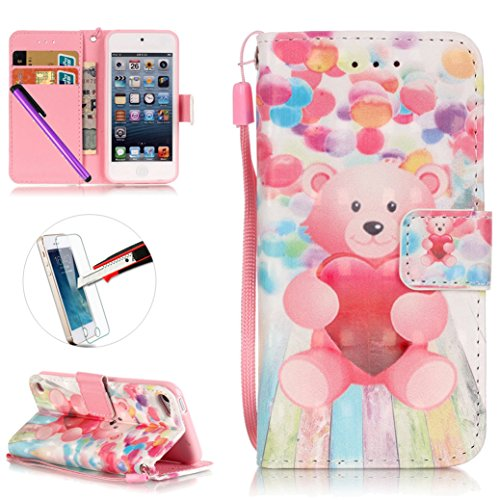 iPod Touch 5 Case, ISADENSER Premium Mobile Cover Protect Skin Leather Magnetic Flip Cover Case With Kickstand Card Slot Holder For iPod Touch 6 Case, Pink Bear