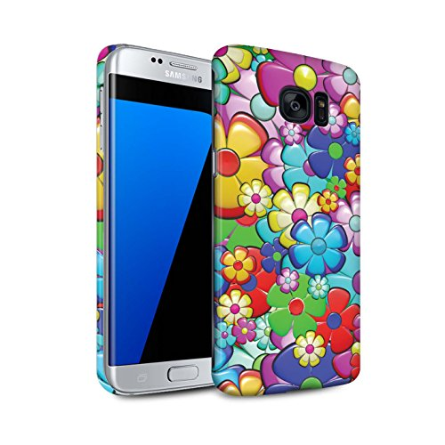STUFF4 Matte Hard Back Snap-On Phone Case for Samsung Galaxy S7 Edge/G935/Vibrant Flower Power Design/Hippie Hipster Art Collection