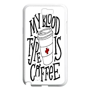 Cases for Samsung Galaxy Note 2, Typography My Blood Type Is Coffee Cases for Samsung Galaxy Note 2, Yearinspace White