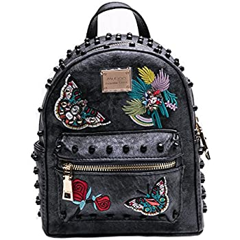 53cdb07055cb MUSAA Women Girls Pu Leather Rivet Studded Backpack Fashion  hand-embroidered Casual Shoulder Bags(Black gray)