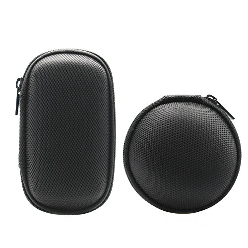 E-outstanding 2-Pack Portable Black Color Rectangle Shaped & Round Hard Earphone Headset EVA Case for MP3/MP4 Bluetooth Earphone Earbuds with Mesh Pocket, Zipper Enclosure.