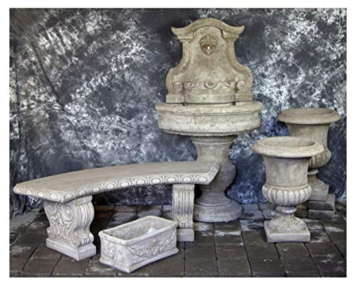 Fleur de Lis Garden Ornaments LLC Palermo Wall Fountain with Palazzo Urns Rectangular Planter and Curved Bench Package Number 1048 ()