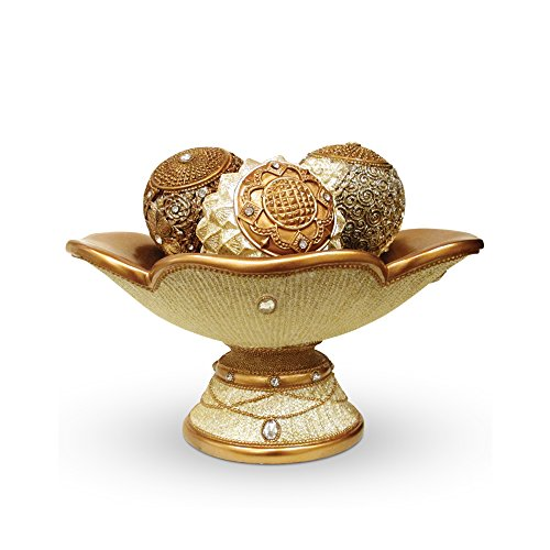 Centerpiece Orb Set   Décor For Living Rooms And Coffee Tables, Gold And  Off White With Studs (4 Piece Set)