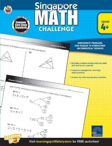 Singapore Math Challenge, Grades 4 - 6 (Math Practice Puzzles)