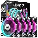 5 Pack aigo C5 120mm Computer Case Fan PC Cooler Radiator RGB LED Low Noise High Airflow, Light / Fan Speed Adjustable, Different Light Modes