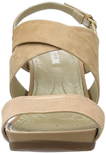 Geox D New Rorie a, Sandalias con Cuña Para Mujer Beige (DK SKIN/ROSE GOLDC5QH8)