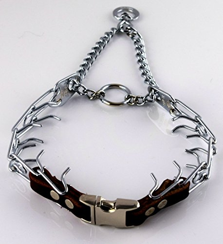 Herm Sprenger Chrome Prong Collar with Pawmark Quick-Snap Buckle - Medium