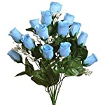Colorful-14-Long-Stem-Roses-Buds-Light-Blue-Silk-Wedding-Flowers-Bride-Bouquet-Decor